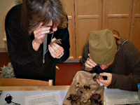 Inspecting earthstar fungi with jeweler's loupes in Private Eye lab with jeweler's loupes